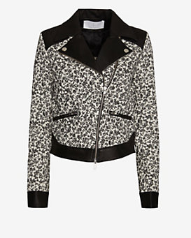 Thakoon Addition Floral Pattern/Leather Combo Moto Jacket
