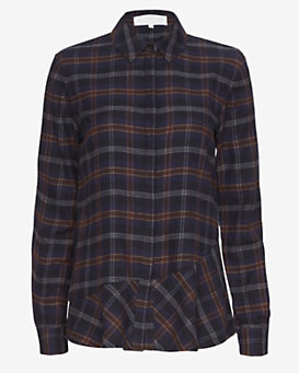 Thakoon Addition Open Back Plaid Flannel Shirt
