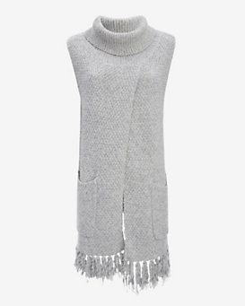 Thakoon Addition Crossover Scarf Knit Sleeveless Turtleneck