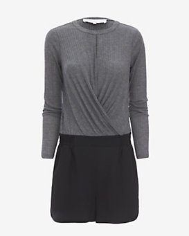 Thakoon Addition Ribbed Jersey Knit Combo Romper