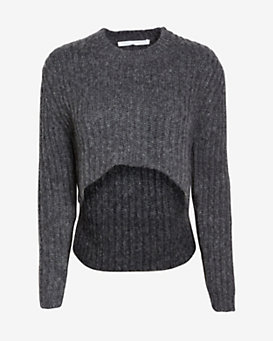 Thakoon Addition Uneven Crop Hem Pullover: Grey