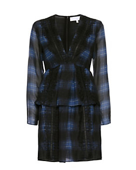 Thakoon Addition Lace Trim Plaid Dress