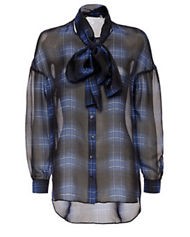 Thakoon Addition Plaid Scarf Tie Blouse