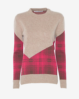 Thakoon Addition Plaid Combo Crewneck Sweater