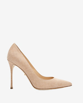 Sergio Rossi Godiva Textured Leather Pointy Toe Stiletto: Nude