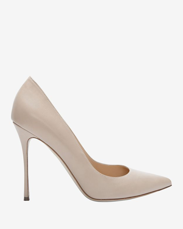 Sergio Rossi Godiva Pointy Toe Leather Pump: Nude
