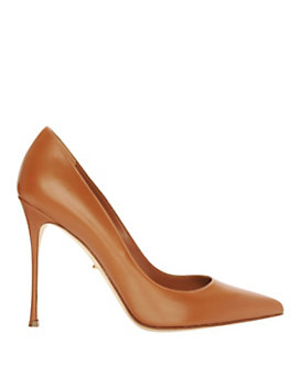 Sergio Rossi Godiva Pointy Toe Leather Pump: Camel