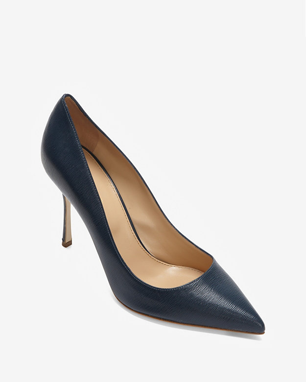 Sergio Rossi Godiva Grained Leather Pump: Navy