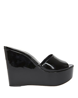 Sergio Rossi Lakeesha Patent Leather Wedge Slide Sandal: Black