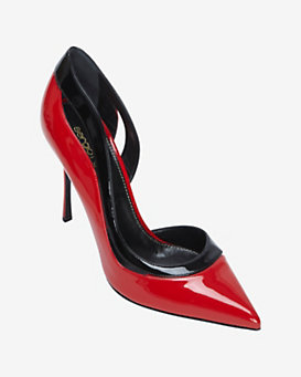 Sergio Rossi Curved Edge Colorblock Patent Leather Stiletto