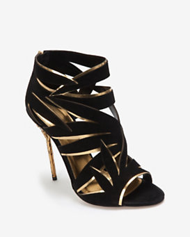 Sergio Rossi Leaf Cut Out Suede Sandal: Black