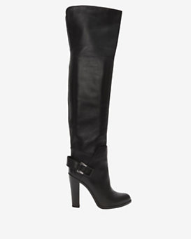 Sergio Rossi OTK Back Slit Leather Boot: Black