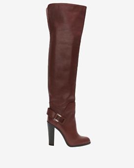 Sergio Rossi OTK Back Slit Leather Boot: Burnt Red