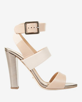 Sergio Rossi Ankle Strap Thick Heel Sandal