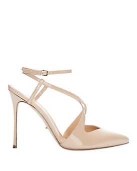 Sergio Rossi Strappy Patent Leather Pump: Nude