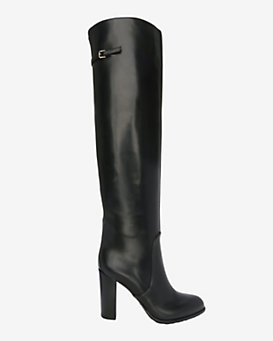 Sergio Rossi Shannen Chunky Heel Leather Buckle Boot: Black
