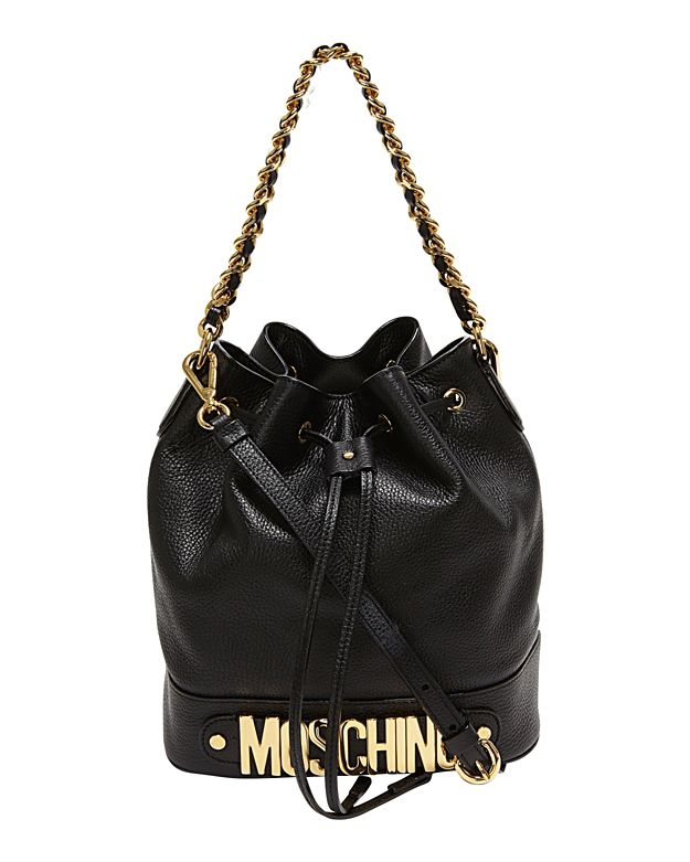 Moschino Logo Hardware Bucket Bag: Black