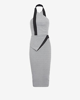 Dion Lee Flecked Crepe Halter Dress