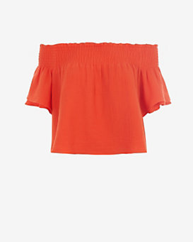 Apiece Apart Off The Shoulder Crop Top: Orange