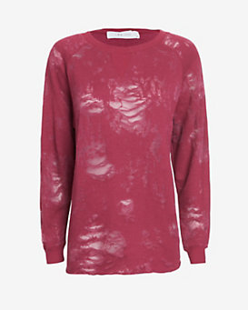 IRO Long-Sleeve Burnout Top: Dark Pink