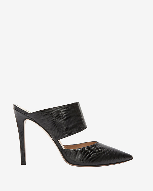 Pura Lopez Lizard Embossed Mule: Black