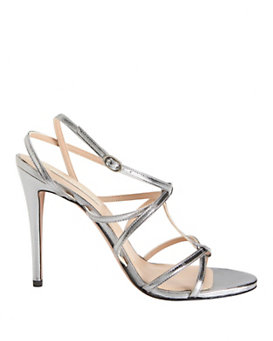 Pura Lopez Criss Crossed Silver Metallic Strap Sandals