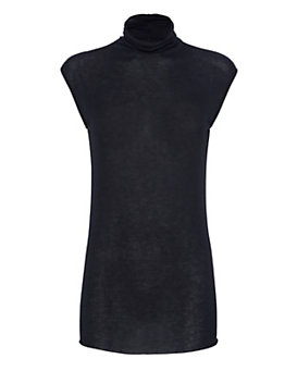 Enza Costa Sleeveless Turtleneck: Navy