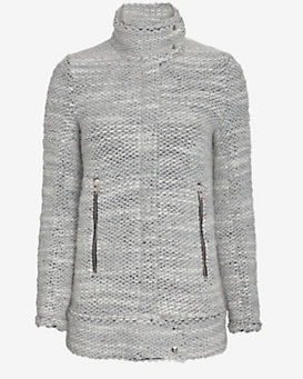 IRO Oversized Collar Tweed Jacket: Grey