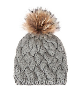 ANNABELLE New York Fur Pom Cross Stitch Knit Hat: Grey