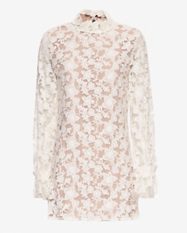 Alexis Mock Neck Lace Dress: White