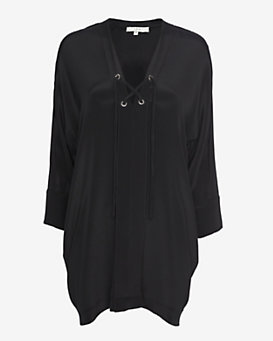IRO Lace-Up Silk Dress: Black