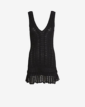 Melissa Odabash Alexis Crochet V Neck Mini Dress