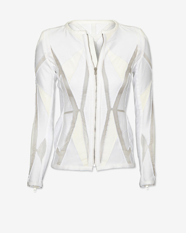 IRO Allegra Sheer Inset Collarless Knit Jacket