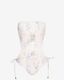 Melissa Odabash Cut Out Lizard Print Strapless One Piece Swimsuit