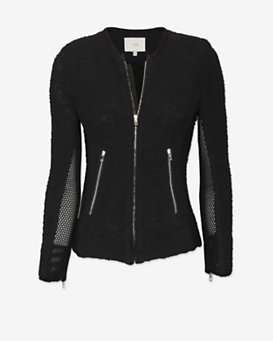 IRO Amiya Mesh Detail Jacket: Black