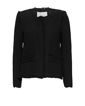 IRO Anglet Frayed Crop Knit Jacket: Black