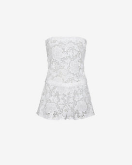 Alexis EXCLUSIVE Strapless Lace Romper: White