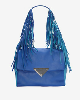 Sara Battaglia Fringe Shoulder Bag: Azure