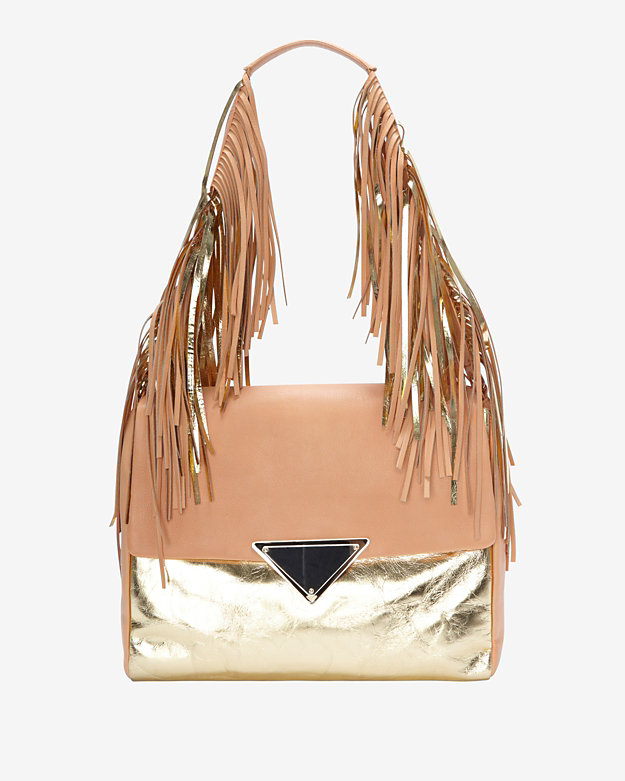Sara Battaglia Colorblock Fringe Shoulder Bag: Gold/Peach
