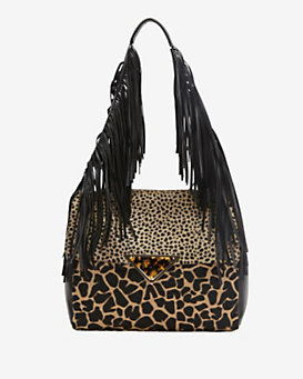 Sara Battaglia Teresa Printed Calfhair Fringe Shoulder Bag
