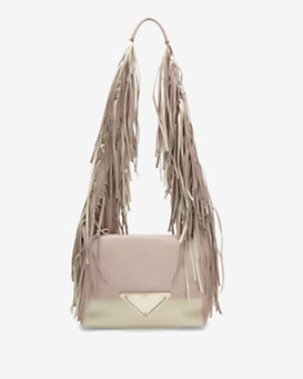 Sara Battaglia Colorblock Fringe Shoulder Bag