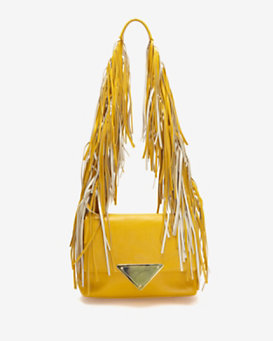 Sara Battaglia Colorblock Fringe Shoulder Bag: Yellow