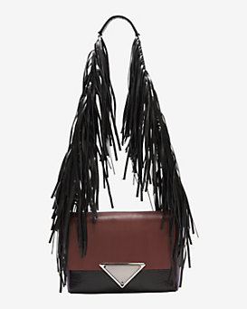 Sara Battaglia Teresa Colorblock Fringe Shoulder Bag: Plum/Black