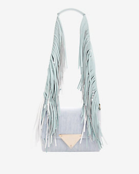 Sara Battaglia Teresa Fringe Shoulder Strap Denim Bag