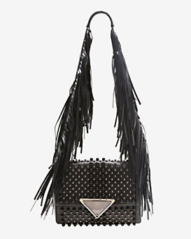 Sara Battaglia Teresa Studded Fringe Shoulder Bag: Black