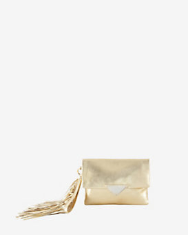 Sara Battaglia Teresa Fringe Tassel Crackled Gold Leather Large Clutch