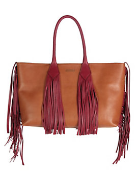 Sara Battaglia Fringe Shopper Tote: Red/Brown