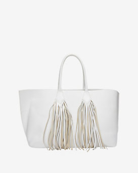 Sara Battaglia Fringe Leather Shopper Tote: White