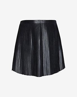Exclusive for Intermix Pleated Leather Mini Skirt