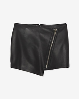 Exclusive for Intermix Zipper Detail Leather Skort